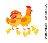 hens family cute cartoon... | Shutterstock .eps vector #1364384627