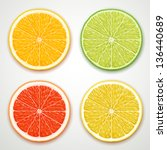 vector citrus slices | Shutterstock .eps vector #136440689
