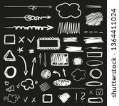 hand drawn signs on black.... | Shutterstock .eps vector #1364411024