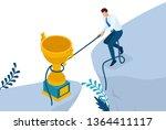 isometric reaching the goal in...   Shutterstock .eps vector #1364411117