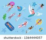 people swimming in water ... | Shutterstock .eps vector #1364444057