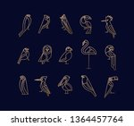 set of bird icons in vintage... | Shutterstock .eps vector #1364457764