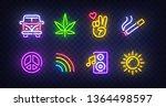 Hippie icon set isolated. Hippie neon sign. Hippie car, Cannabis, Victory hand, Pacific, Rainbow, World, Sun