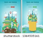 travel composition with famous... | Shutterstock .eps vector #1364535161
