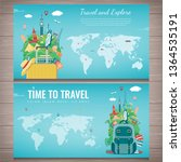 travel composition with famous... | Shutterstock .eps vector #1364535191