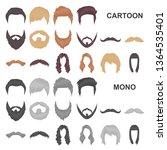 mustache and beard  hairstyles... | Shutterstock . vector #1364535401
