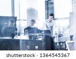 business team brainstorming on... | Shutterstock . vector #1364545367