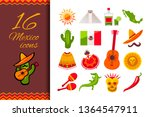 mexico flat icon set. sun  moai ... | Shutterstock .eps vector #1364547911