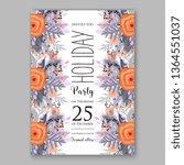 wedding invitation peony rose... | Shutterstock .eps vector #1364551037