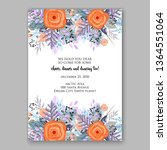 wedding invitation peony rose... | Shutterstock .eps vector #1364551064