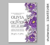 wedding invitation floral peony ... | Shutterstock .eps vector #1364551484