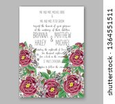 wedding invitation floral peony ... | Shutterstock .eps vector #1364551511