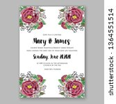 wedding invitation floral peony ... | Shutterstock .eps vector #1364551514