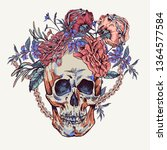 vector skull with roses  chains ... | Shutterstock .eps vector #1364577584
