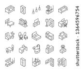 isometric furniture and... | Shutterstock .eps vector #1364596754