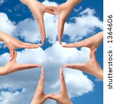 Female hands showing big medical cross symbol concept blue cloudy sky background - stock photo