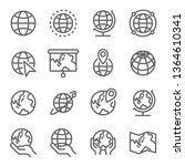 globe icon set. contains such... | Shutterstock .eps vector #1364610341