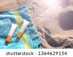 sunscreen packaging at beach... | Shutterstock . vector #1364629154