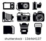 vector black photo icons set on ... | Shutterstock .eps vector #136464137