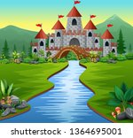 a castle and river in the green ... | Shutterstock . vector #1364695001