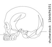 skull side profile view one... | Shutterstock .eps vector #1364696351