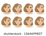the set of expressions on the... | Shutterstock .eps vector #1364699837