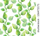 Green Watercolor Leaves On A...