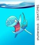 cartoon smiling shark in the... | Shutterstock .eps vector #136472981