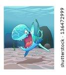 funny shark the ocean floor | Shutterstock .eps vector #136472999