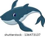 cute blue whale cartoon | Shutterstock .eps vector #136473137