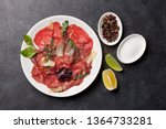marbled beef carpaccio with...   Shutterstock . vector #1364733281