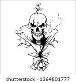 skull smoke roses   Shutterstock .eps vector #1364801777