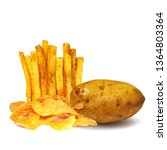 french fries and potato chips... | Shutterstock .eps vector #1364803364