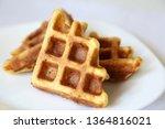belgian waffles in white plate. ...   Shutterstock . vector #1364816021