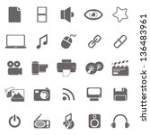 multimedia basic icons | Shutterstock .eps vector #136483961