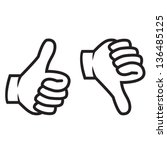 thumbs up and down gesture... | Shutterstock .eps vector #136485125