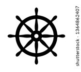 nautical black helm isolated on ... | Shutterstock .eps vector #1364862407