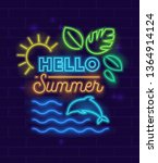 Hello Summer Banner With Neon...