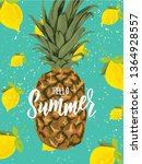 summer hand lettering text with ... | Shutterstock .eps vector #1364928557