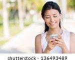 portrait of a woman sending...   Shutterstock . vector #136493489
