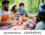 friends making barbecue and... | Shutterstock . vector #1364940941