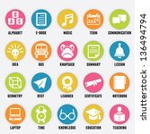 set of education icons   part 2 ... | Shutterstock .eps vector #136494794