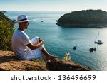 the man at the resort in a... | Shutterstock . vector #136496699