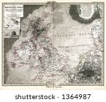 1875 antique map of british... | Shutterstock . vector #1364987