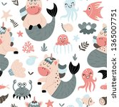 seamless pattern with cute...   Shutterstock .eps vector #1365007751