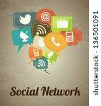 social network icons over... | Shutterstock .eps vector #136501091