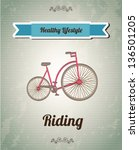 bike over vintage background... | Shutterstock .eps vector #136501205