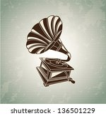 gramophone vintage over old...