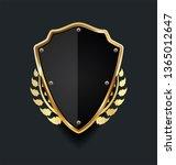golden shield with golden... | Shutterstock .eps vector #1365012647