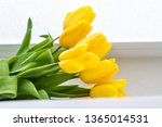 bouquet of yellow tulips  | Shutterstock . vector #1365014531